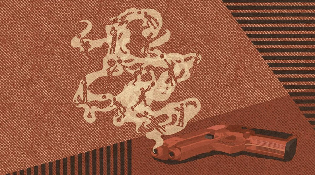 Illustration of a smoking gun with youth playing basketball swirling in the smoke.