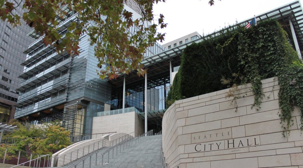 Photo of exterior of Seattle City Hall from 4th Avenue.