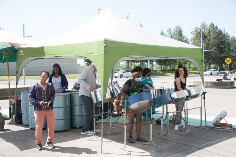 The Seattle Women's Steel Pan Project performed for individuals getting vaccinated at the Vax to the Max event at the ShoWare Events Center in Kent on May 15, 2021.