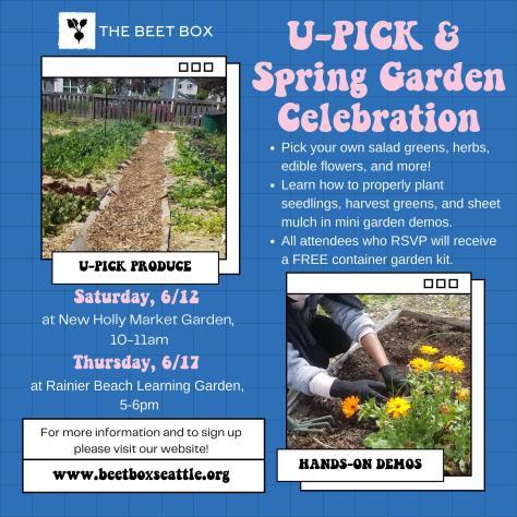 Digital flyer for The Beet Box's 2021 U-Pick & Spring Garden Celebration.