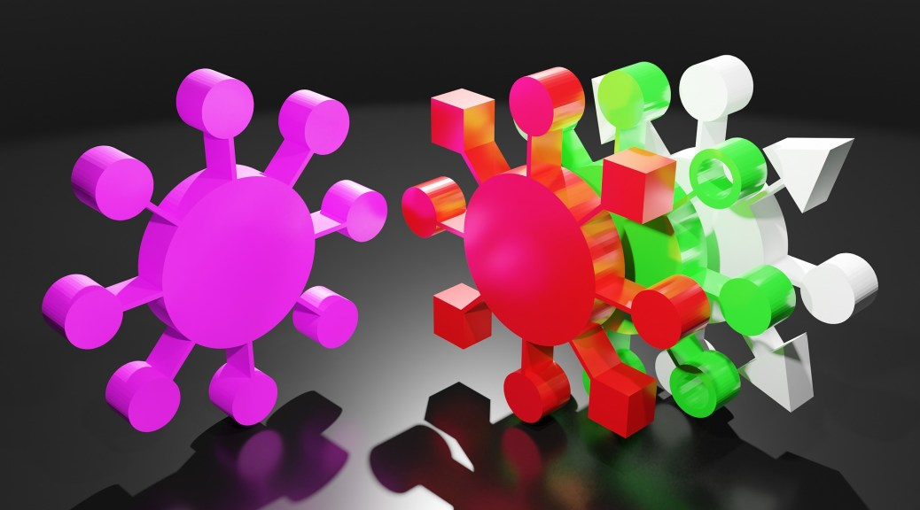 Digital graphic rendition of the coronavirus, including three mutated forms. The virus appears in pink, red, green, and white, respectively, against a black background with variations in the spike proteins protruding from the round nucleus.