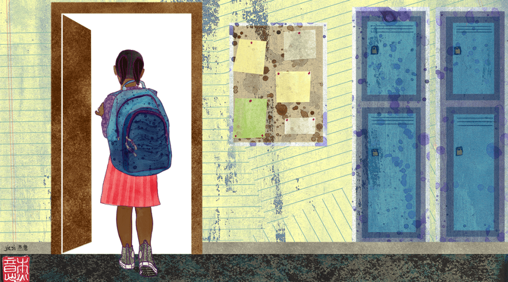 Illustration depicting a female-presenting student of color walking into a classroom door with a blue backpack. Blue lockers and a bulletin board hang to the right of the student.