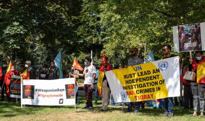 Protestors advocate for international intervention in the Tigray region.