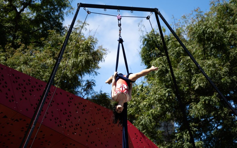 Vivian Tam, artistic director at Chrysalis Circus, performs aerial choreography.
