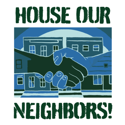 Logo of the House Our Neighbors! coalition with blue and dark green hands shaking in front of