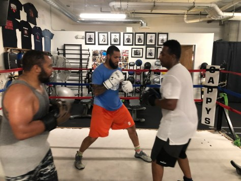 Photo depicting two boxers in the center of a ring training while a coach offers them advice.