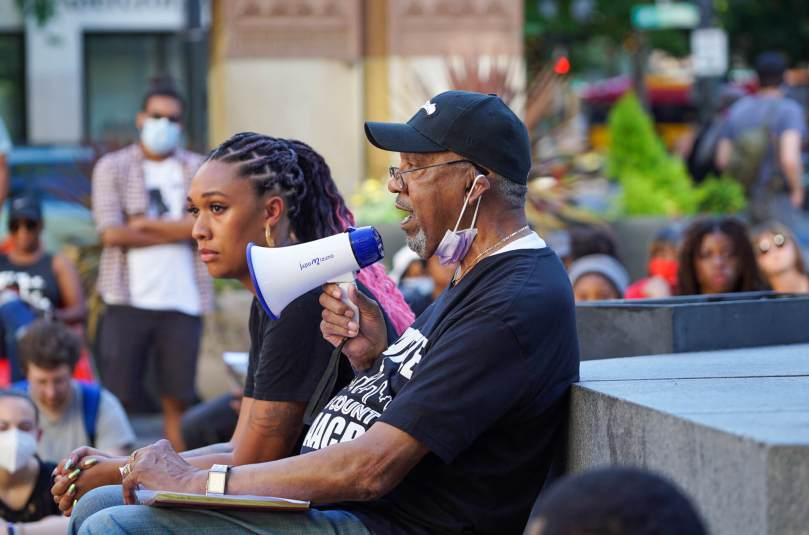 Claude Burfect, a vice president of the Seattle-King County Branch of the NAACP, speaks during the #BreatheforKaloni rally on Saturday, July 24, 2021, at Westlake Park.