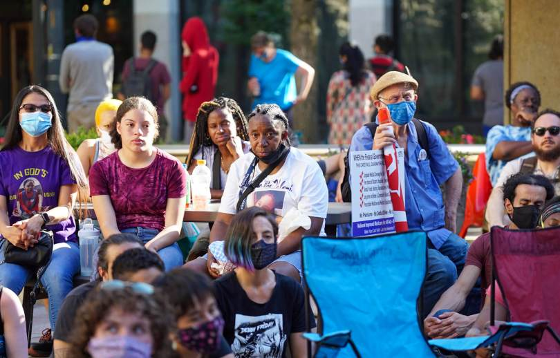 Around a 100 people gathered at Westlake Park on Saturday, July 24, 2021, for the #BreatheforKaloni rally