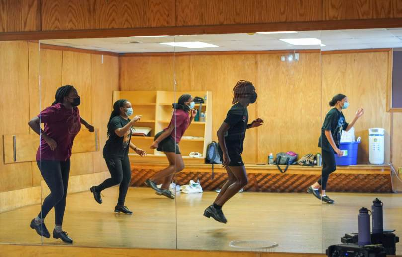 The Northwest Tap Connection's Youth Tap Ensemble rehearses in the studio.