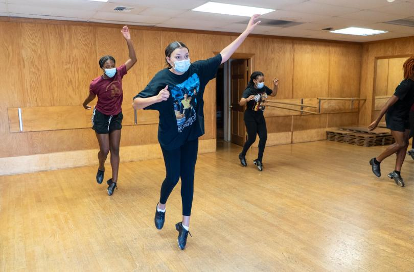 Kaylee Rogers, 16, a member of the Northwest Tap Connection's Youth Tap Ensemble, rehearses with her friends in the studio