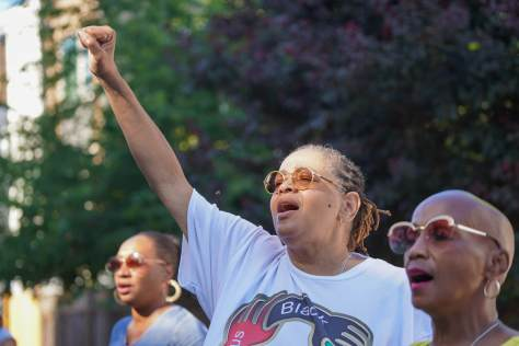 Karen Taylor celebrating during the Reunion on Union Community Dinner and Block Party