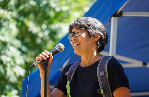 The Reverend Angela Ying of Bethany United Church of Christ speaks during the rally