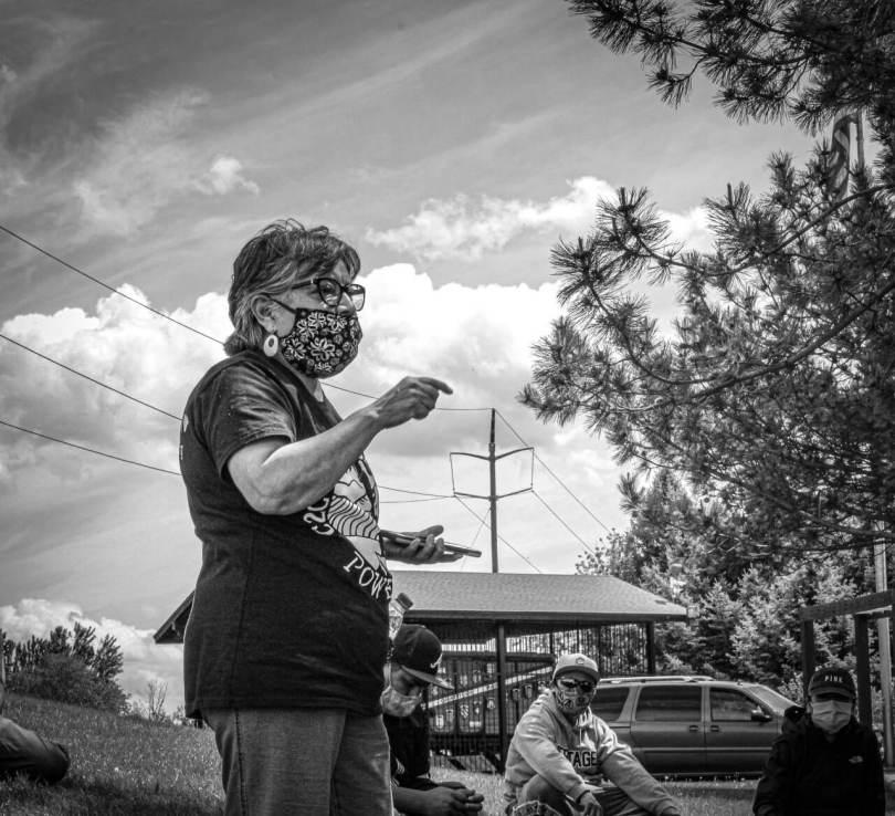 Rosalinda Guillen of Community to Community Development speaking to workers in Yakima.