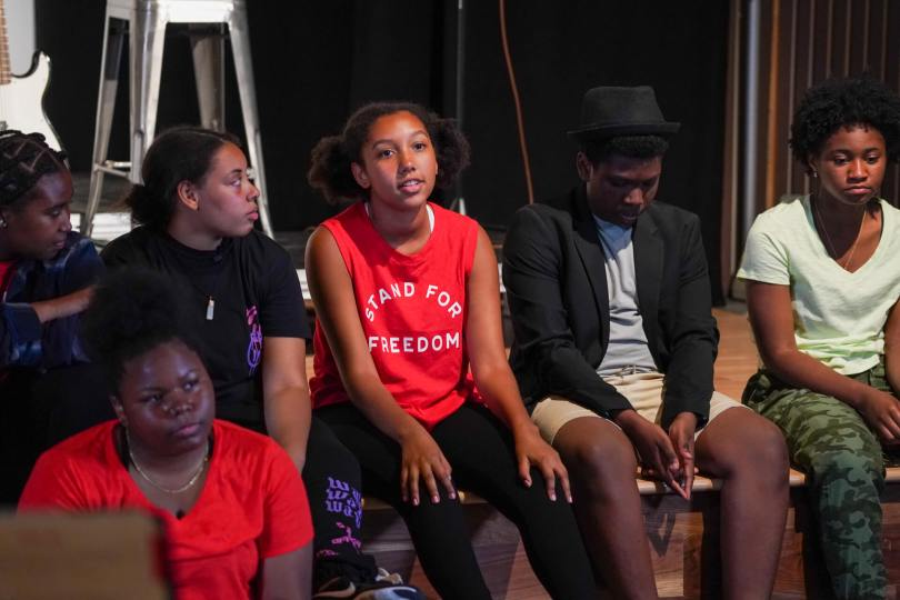 Dayana Almon, 16, answers a question during a Q&A after a dress rehearsal of the Teen Summer Musical