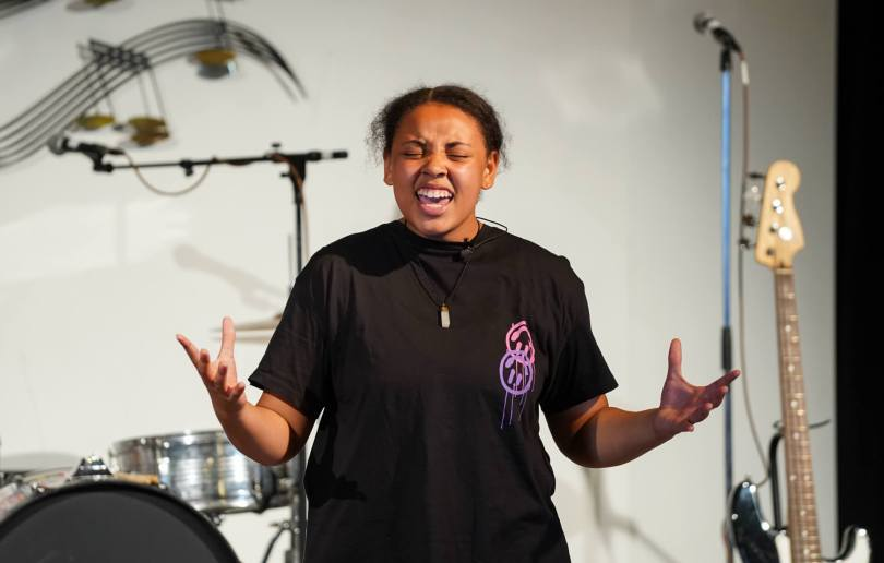 Nyshae Griffin, 14, sings during a rehearsal of the Teen Summer Musical