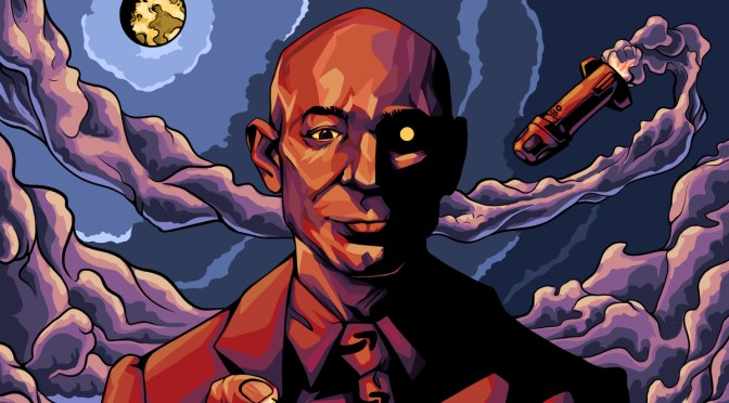 Illustration depicting villainous-looking Jeff Bezos with a robotic eye and a rocket swirling around behind him with purple smoke.