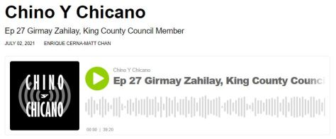 Screenshot of the Chino Y Chicano podcast player for episode 27. Y