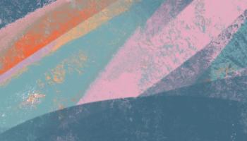 An artpiece with dark blue, orange, light blue, and pink lines.