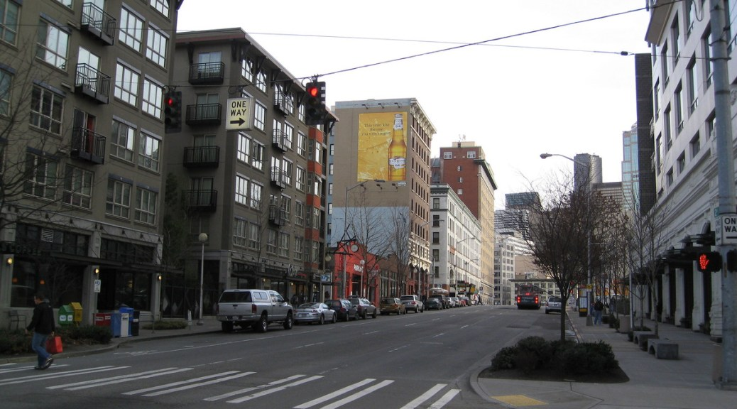 Photo of a street in downtown Seattle.