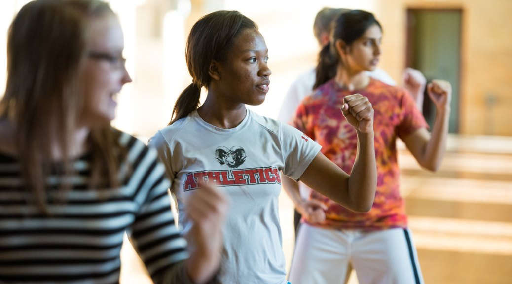 Photo of female-presenting individuals standing in a fighting pose for self-defense class.