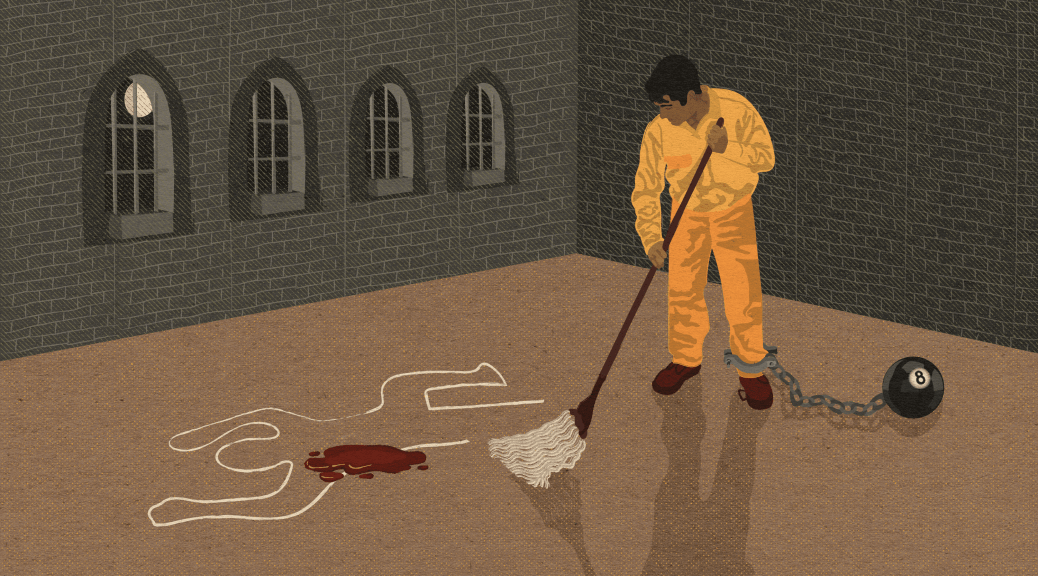 Illustration depicting a male-presenting individual in a prison jumpsuit with a chain around his leg attached to an 8 ball. The individual is mopping up blood on a chalk outline of a body.
