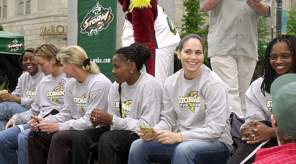 Featured Image: Seattle Storm players at Westlake Center, 2002 (photo via Seattle Municipal Archives on Flickr under a Creative Commons 2.0 license)