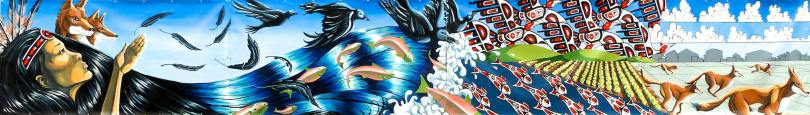 Photo of a mural depicting an Indigenous individual with long hair on the left side. As the hair moves across the mural it transforms into ravens, water with schools of fish swimming, agricultural fields, and foxes running across snow.