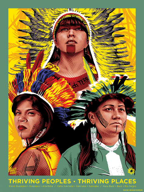 Image depicting Sonia Guajajara, Nara Bare, and Celia Xakriaba in their regalia against a yellow and green background.