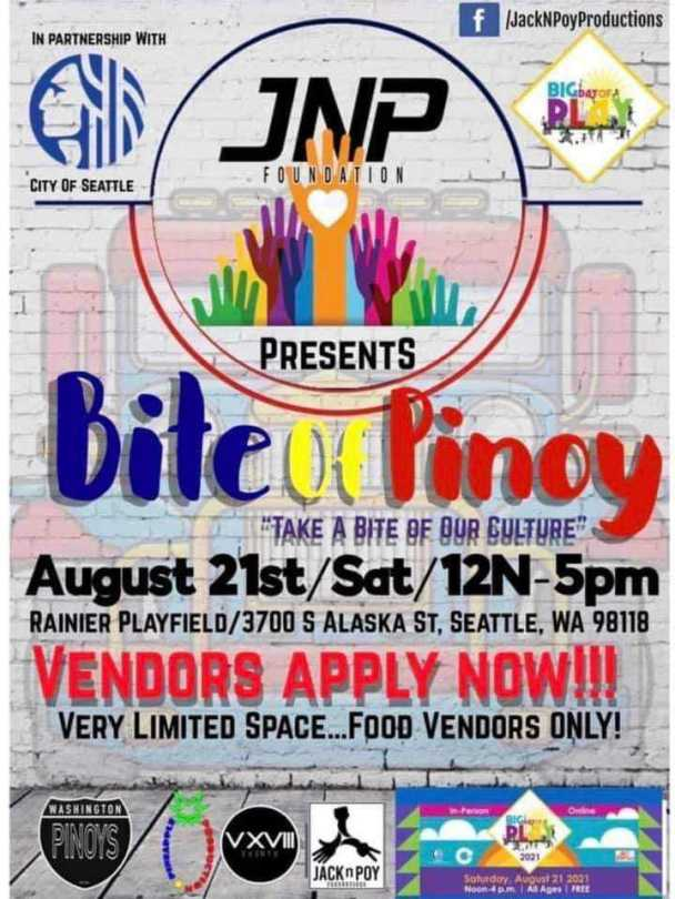"""Flyer advertising the Bite of Pinoy event with a tagline of """"Take a Bite of Our Culture."""""""