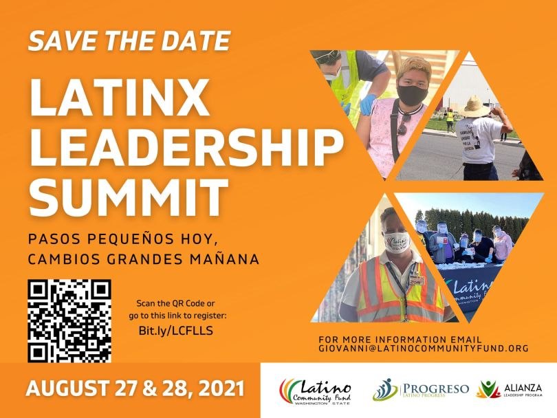 """Flyer depicting a """"save the date"""" for the Latinx Leadership Summit."""