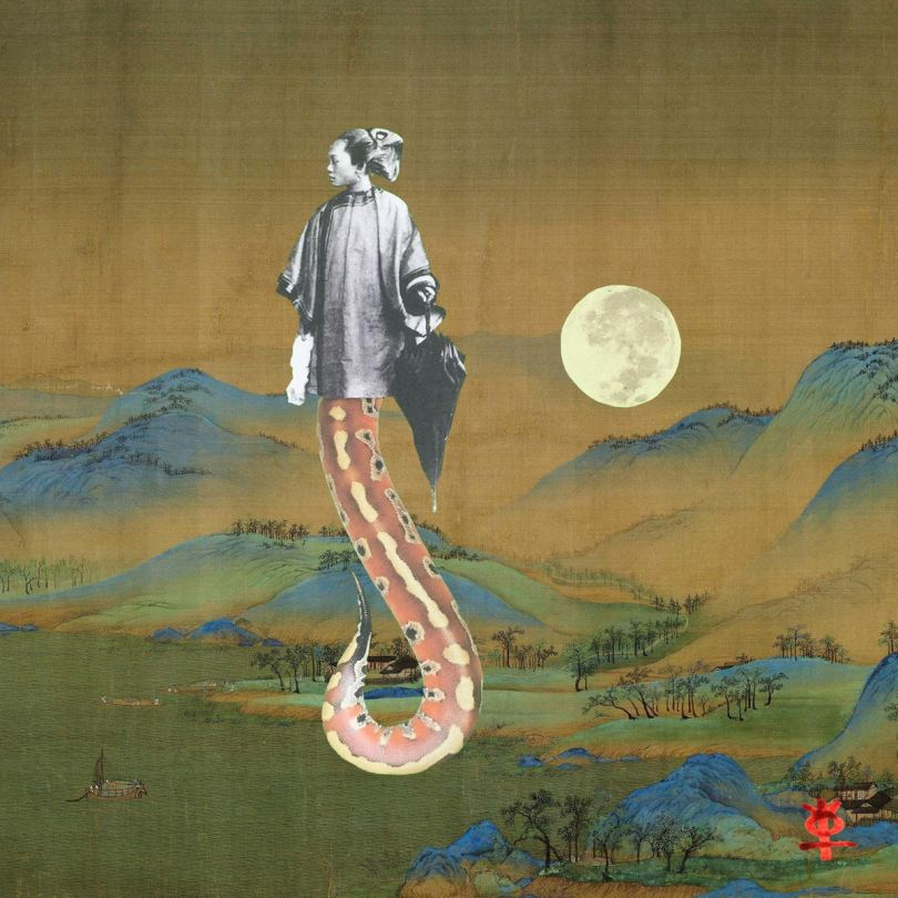 Photo of a mixed media image depicting a female-presenting Asian-presenting individual in traditional clothing with an orange tentacle or tail instead of legs. The individual is made of a black-and-white vintage photo as well as another clipping, and the individual stands on a background of a East Asian ink landscape painting.