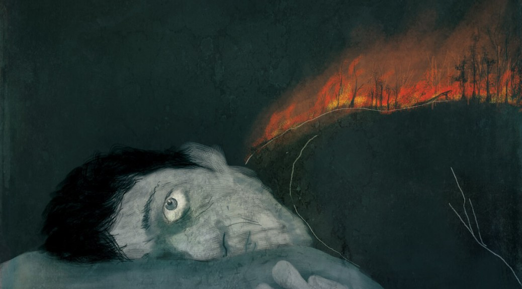 Illustration depicting a blue-grey male-presenting individual lying awake with an orange forest fire burning on their back.