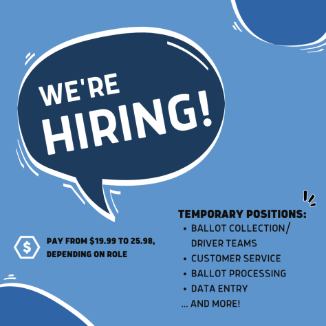 """A blue flyer with a navy-blue speech bubble with white text that reads, """"We're Hiring!"""" Other text reads """"Temporary Positions: Ballot Collection/Driver teams, Customer service, Ballot processing, data entry, ...and more!"""""""