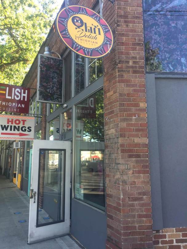 Photo of the exterior of Delish Ethiopian Cuisine restaurant and bar.