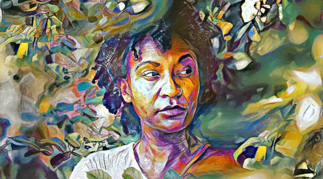 Colorful digital transformation of a photo of a Black woman in a garden looking off to one side.