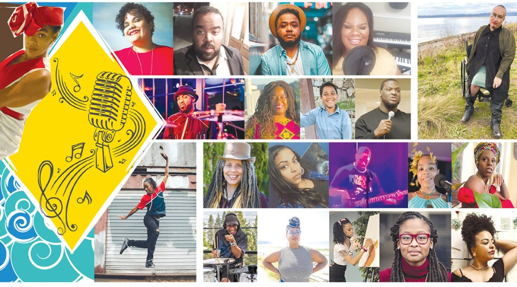 Promotional image depicting a collage of Black-presenting spoken-word artists with the a sketch in black ink of a microphone with musical notes swirling around on a yellow diamond backdrop.