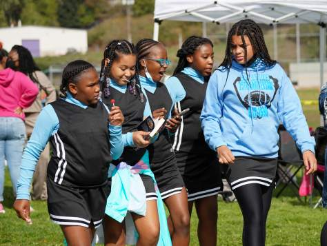 The CD Panthers cheerleaders in blue and black uniforms take a break with lollipops.