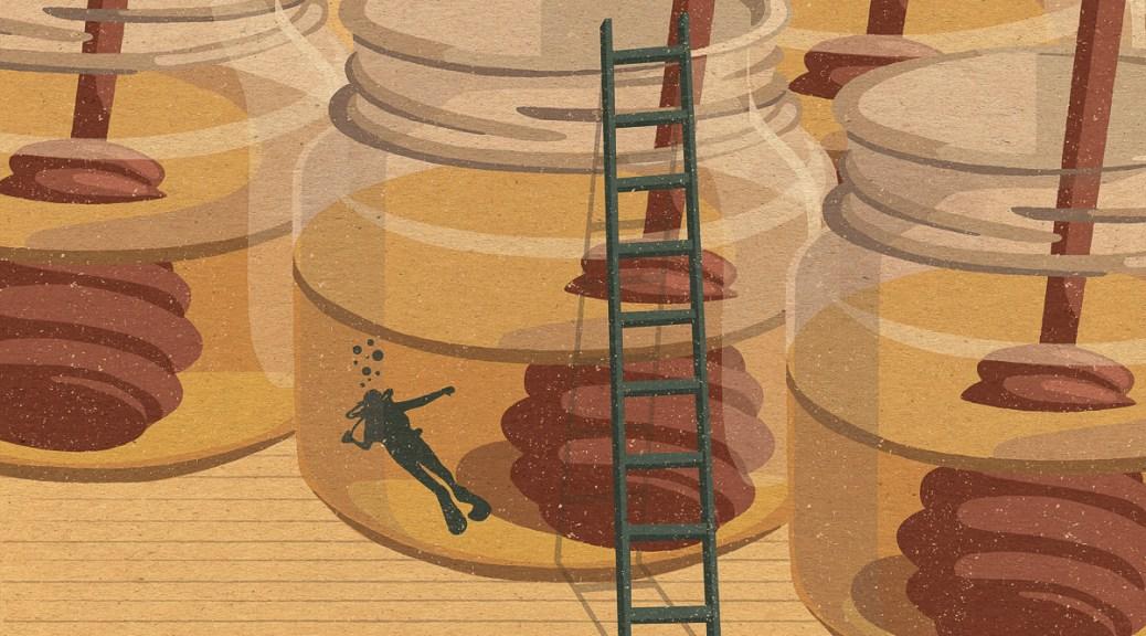 Illustration depicting a diver inside a honey jar, a green ladder rests alongside the honey jar.