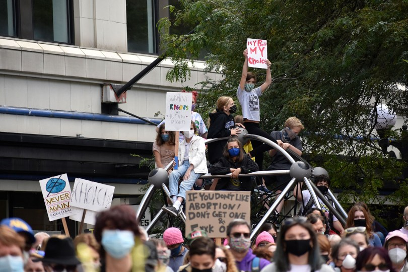 Photo depicting a group of protestors sitting on the jungle gym in Westlake Park carrying protest signs.