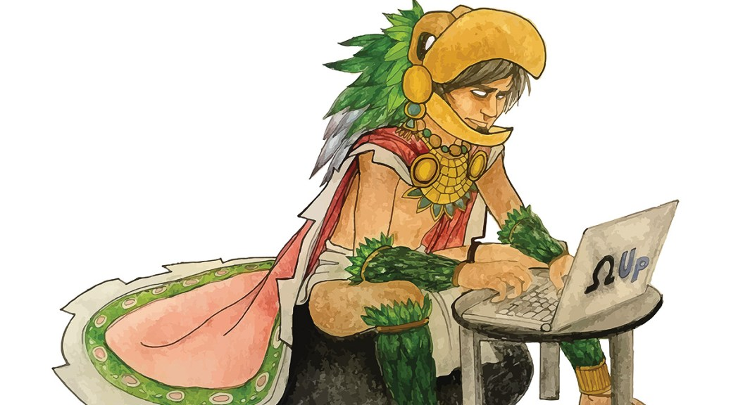 """Illustration depicting a male- and Latino-presenting individual wearing traditional Mexican regalia sitting at a laptop with the Greek character Omega and the word """"Up"""" written on it."""