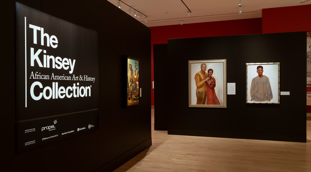"""Photo depicting the entrance to The Kinsey African American Art & History Collection"""" exhibit at the Tacoma Art Museum."""