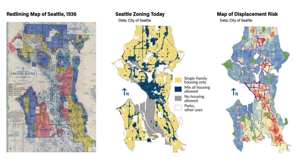 Maps depicting zoning and displacement risk from different time periods