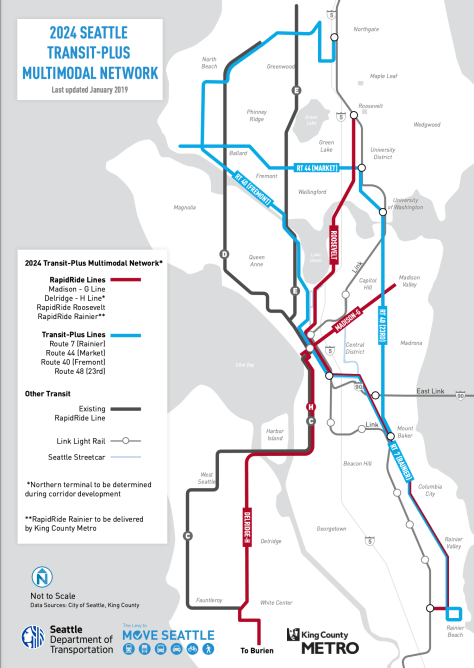 Photo depicting the 2024 Seattle Transit-Plus Multimodal Network map with red lines representing the RapidRide lines and blue lines representing the Transit-Plus lines.