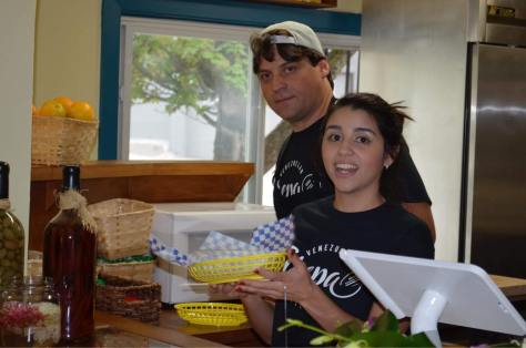 onni Tirelli and daughter Mariangela Tirelli working at Arepa Venezuelan Kitchen.