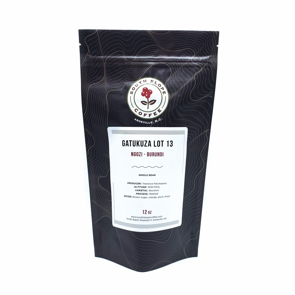 12 ounce bag of roasted coffee from Burundi Gatukuza Lot 13 roasted by South Slope Coffee