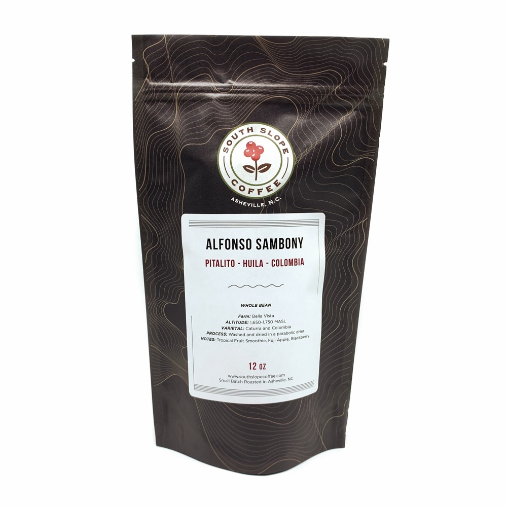 Photo of 12 Oz bag Alfonso Sambony from Pitalito Huila Colombia Roasted by South Slope Coffee