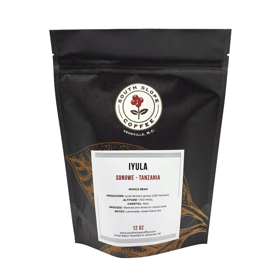Photo of south slope coffee bag of roasted coffee from Iyula Tanzania