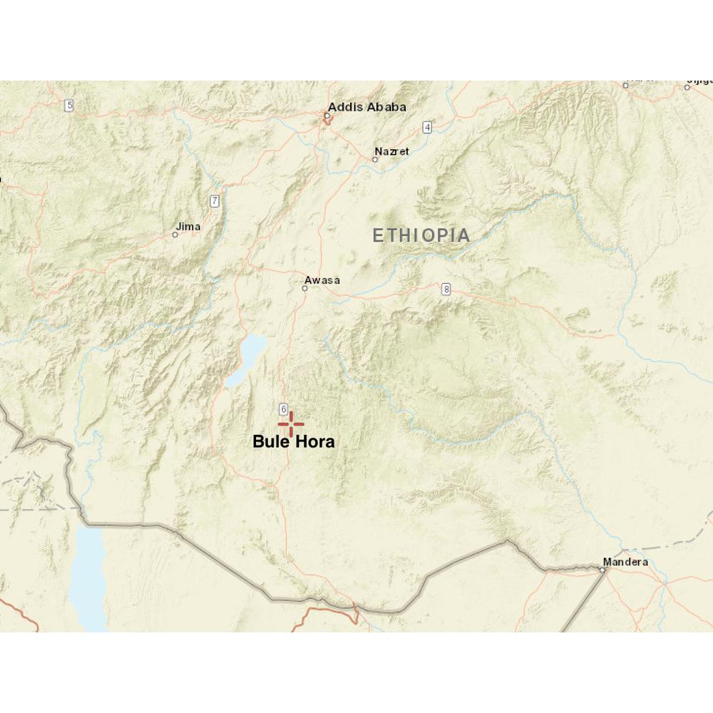 Map of location of Bule Hora in Ethiopia
