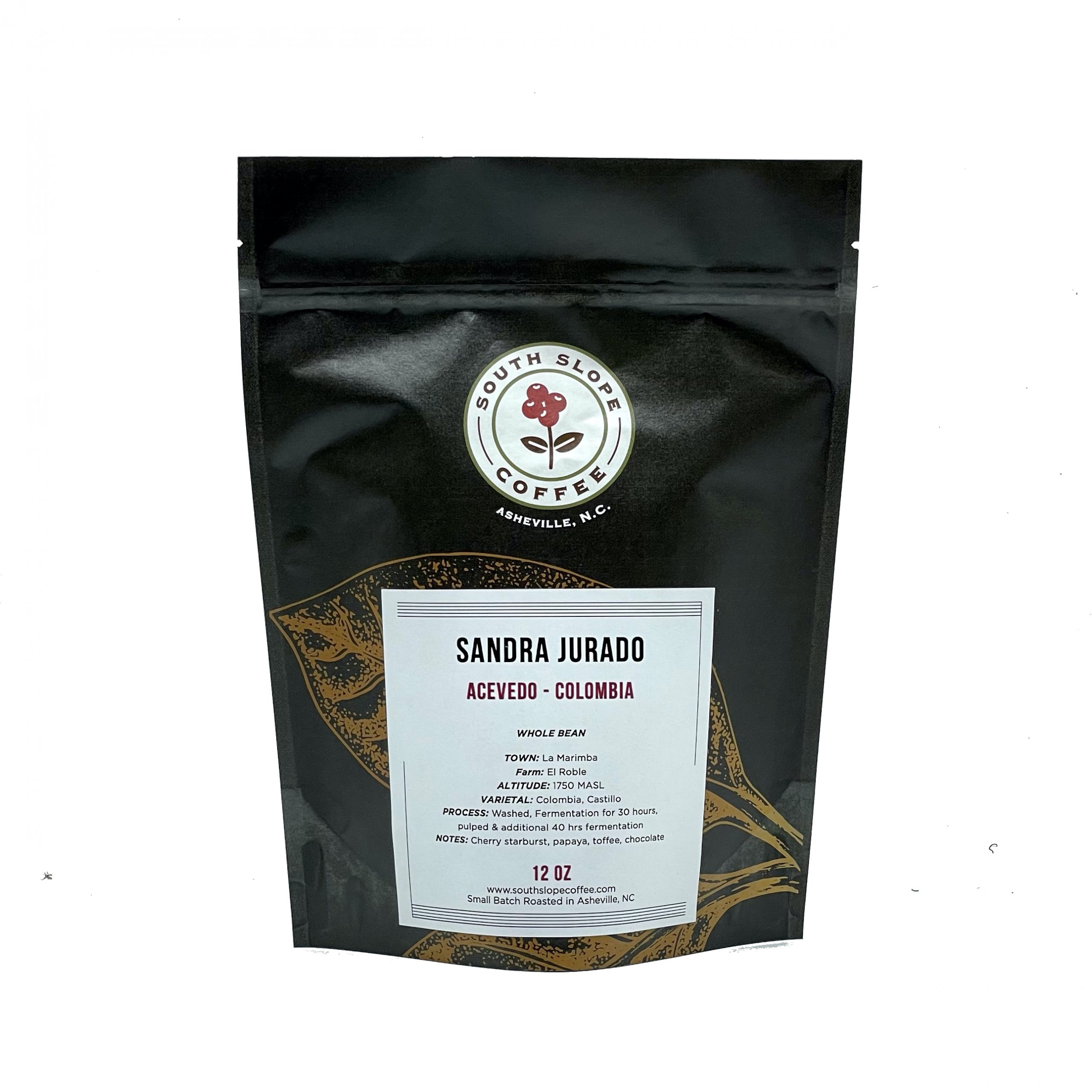 Photo of 12 ounce bag of roasted coffee of Sandra Jurado from Colombia roasted by South Slope Coffee