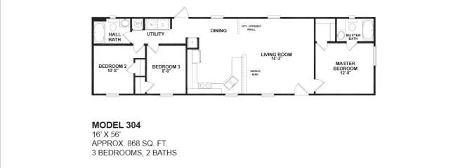 Two Bedroom One Bath Mobile Home Chief Park 3 2 Bathroom Floor Plans